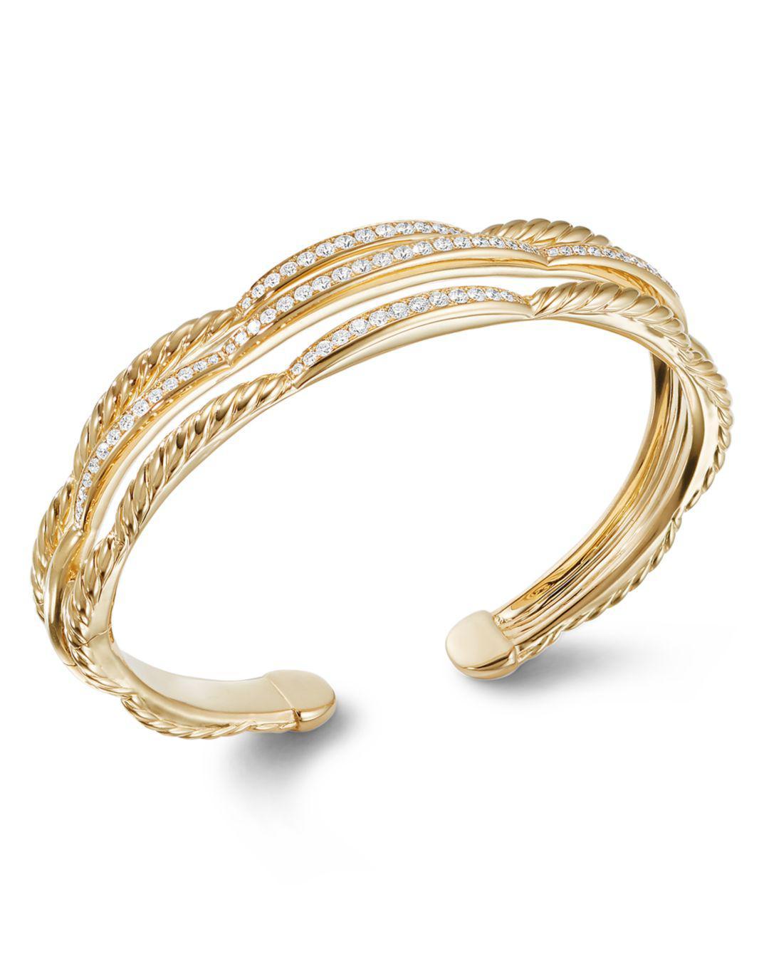 6f1b32d2b0f13 Lyst - David Yurman Tides Three Row Cuff Bracelet In 18k Yellow Gold ...
