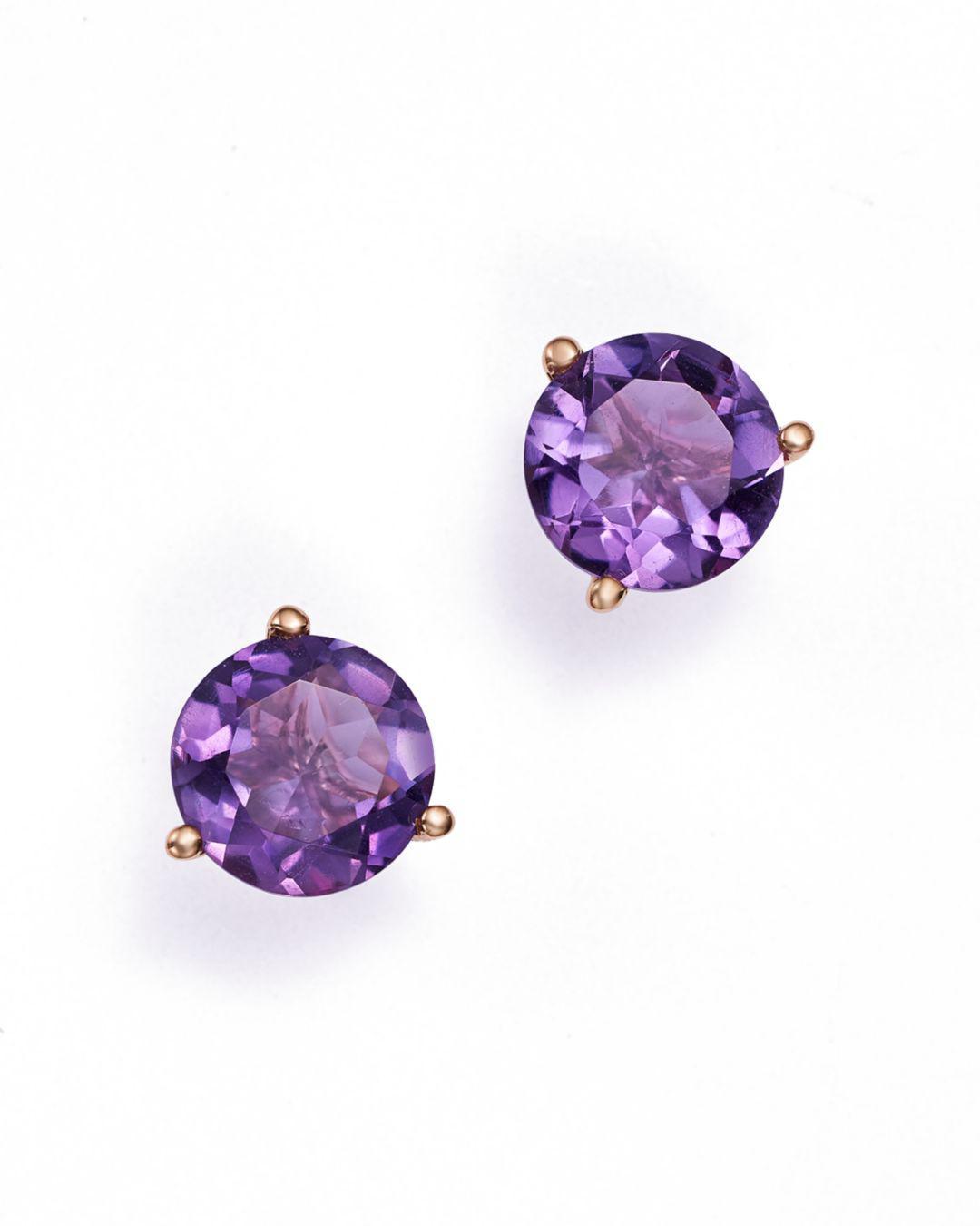 Bloomingdale S Multicolor Amethyst Stud Earrings In 14k Rose Gold Lyst View Fullscreen