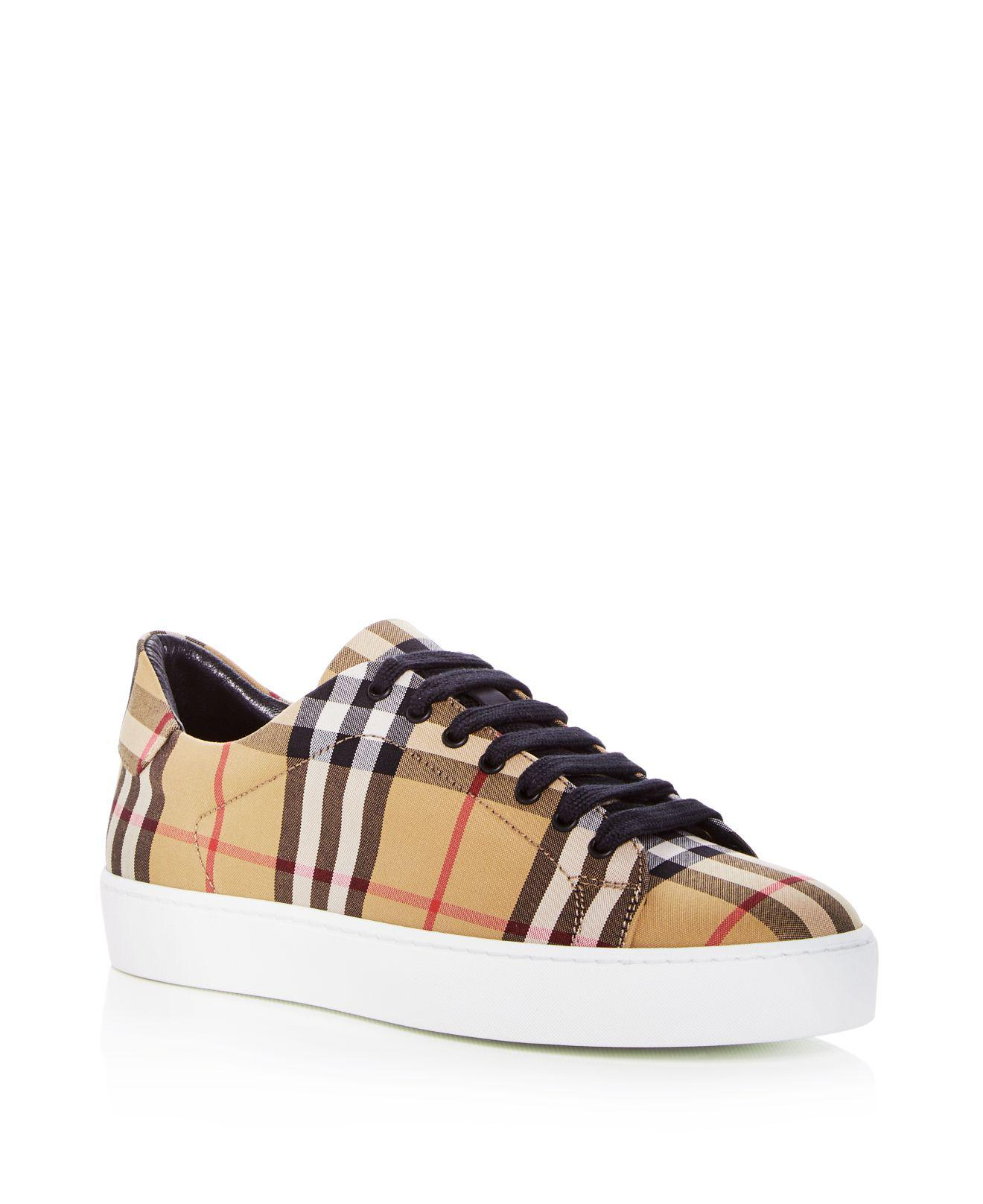 Westford Check Sneakers in Antique Yellow Cotton Tweed and Leather Burberry tmwLQw