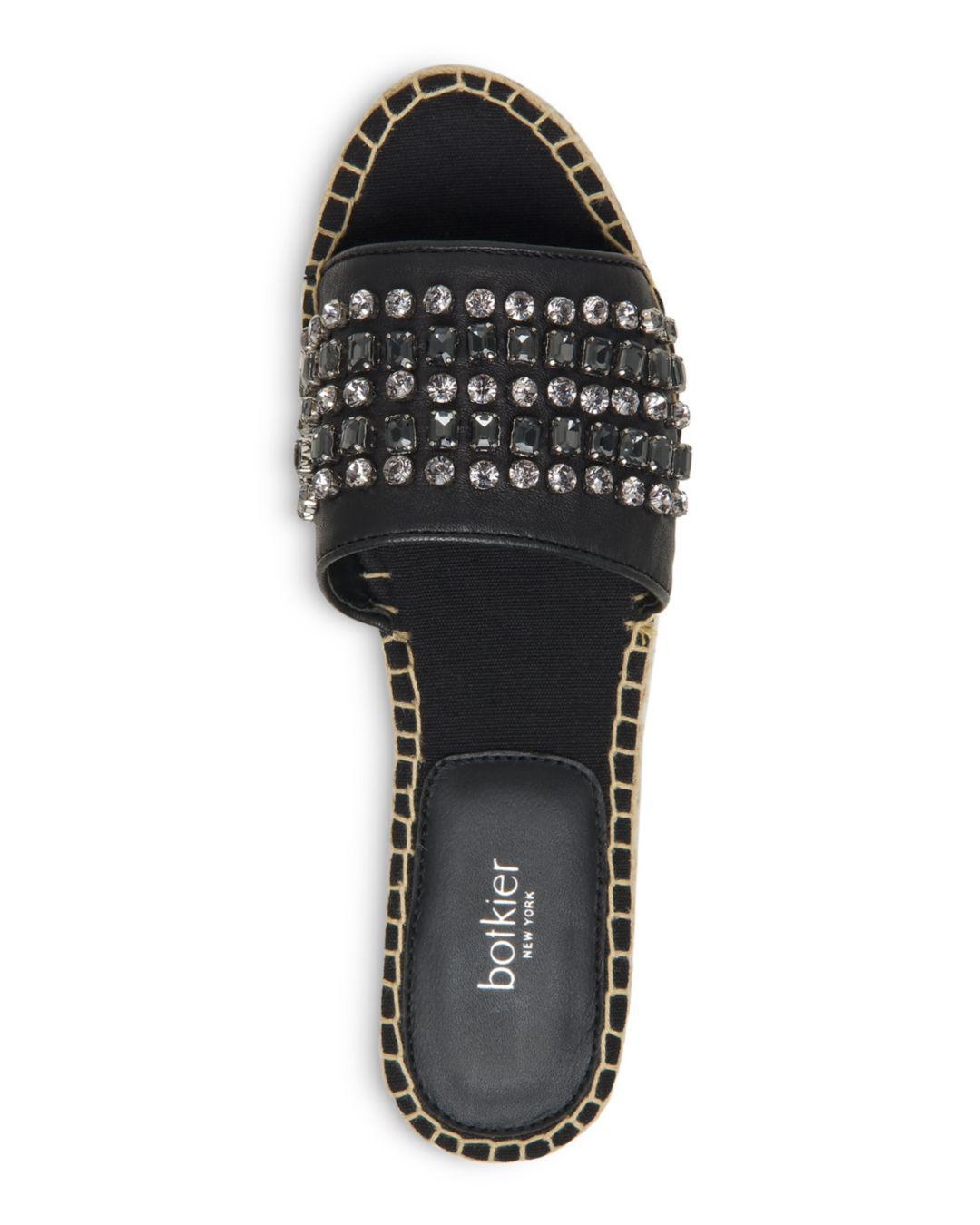 9aa54fa9a Botkier Julie Leather Jeweled Espadrille Sandals in Black - Lyst