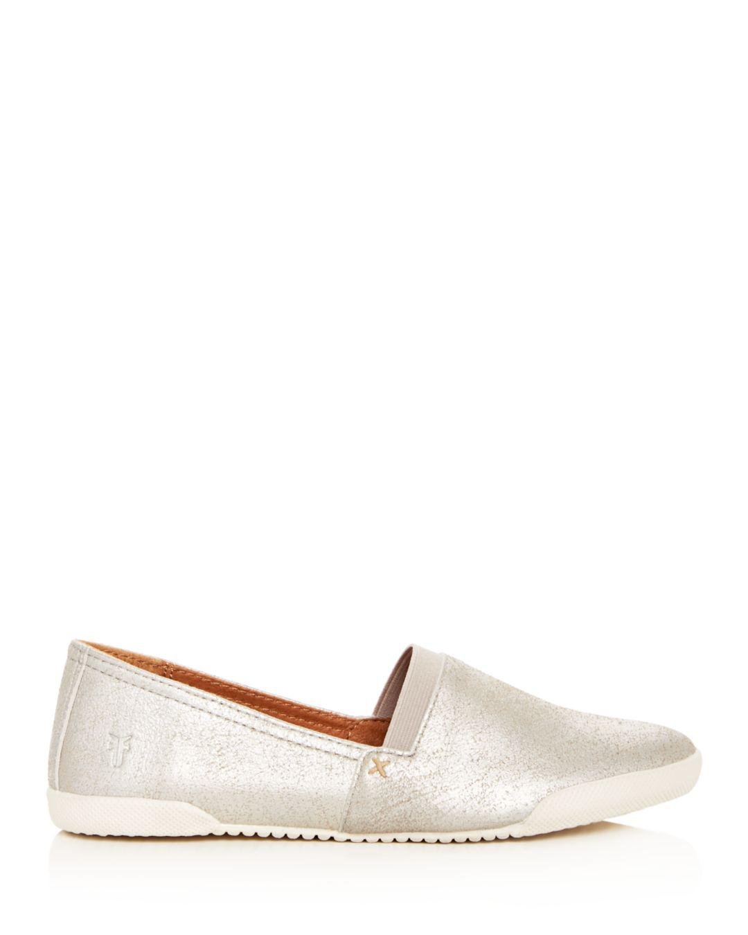ef0a1e4ccb Lyst - Frye Women s Melanie Metallic Suede Slip-on Sneakers in Metallic