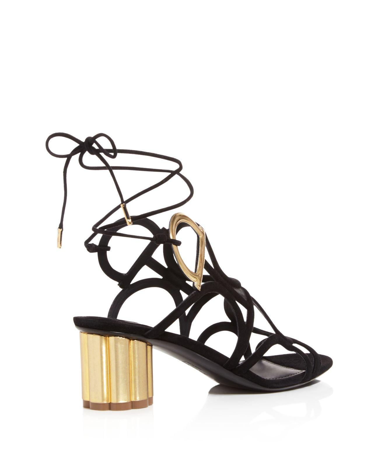 Salvatore Ferragamo Women's Suede Ankle Tie Floral Heel Sandals