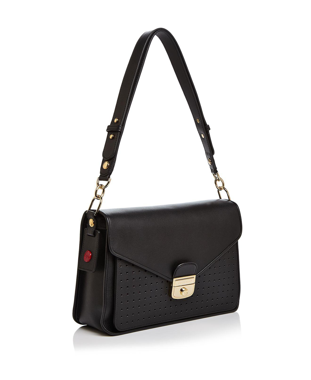 Lyst - Longchamp Mademoiselle Leather Shoulder Bag in Black b069f6f80b