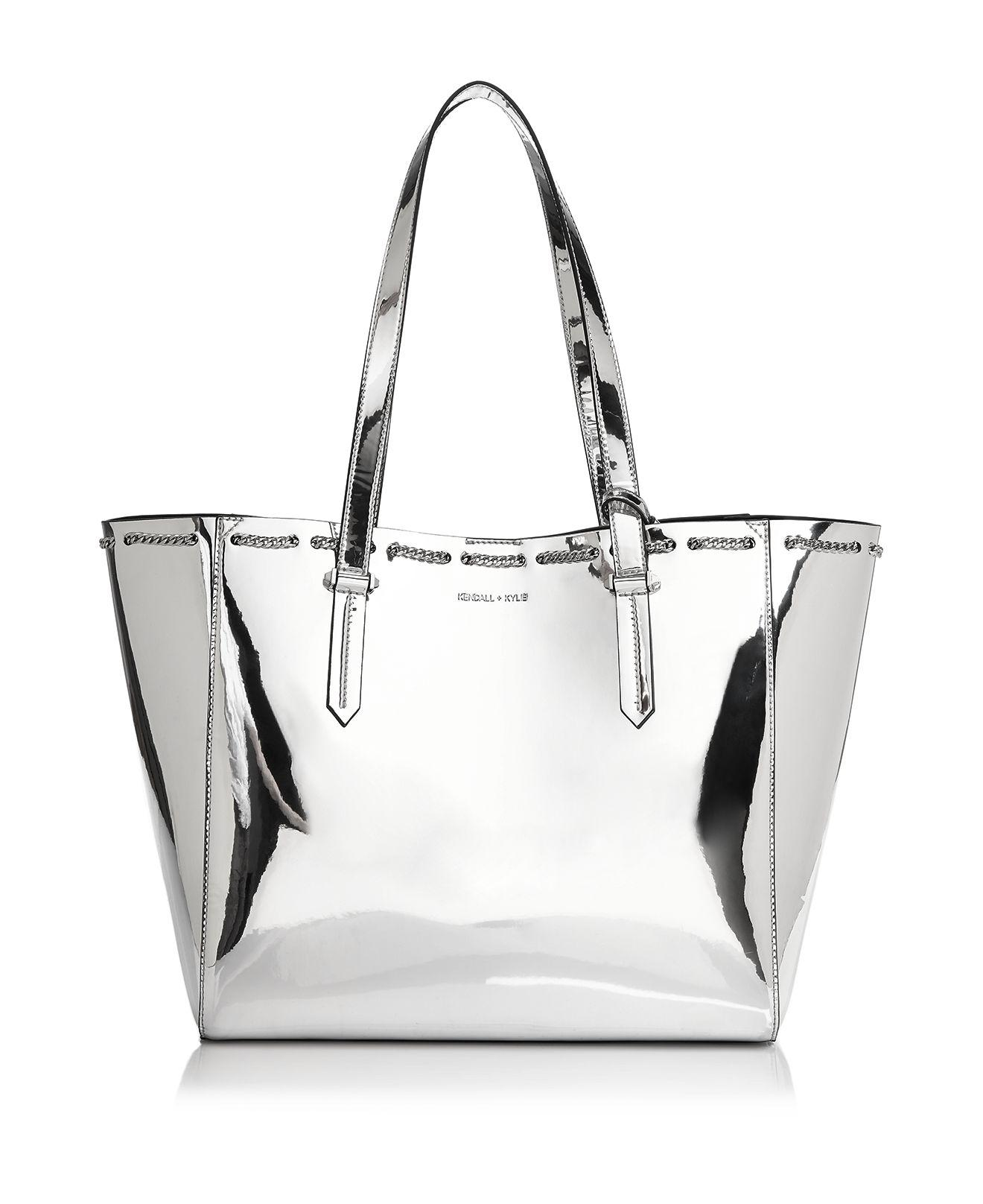 53b9015fa57b Lyst - Kendall + Kylie Izzy Chain Trim Metallic Tote in Metallic