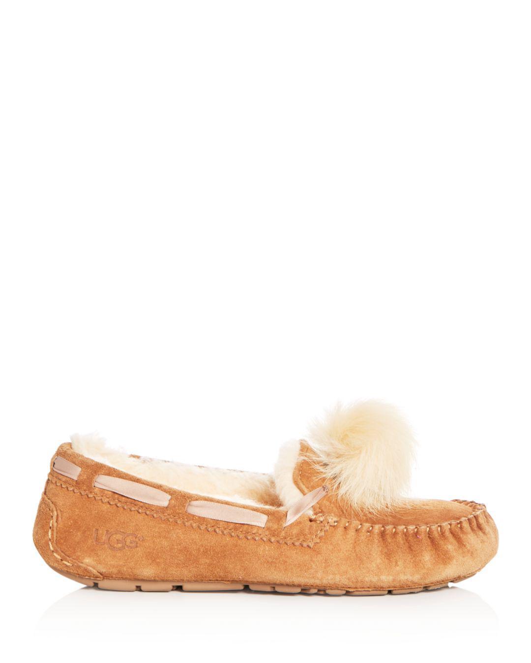 ab4c55c0a464 Lyst - UGG Women s Dakota Sheepskin Pom-pom Slippers in Brown