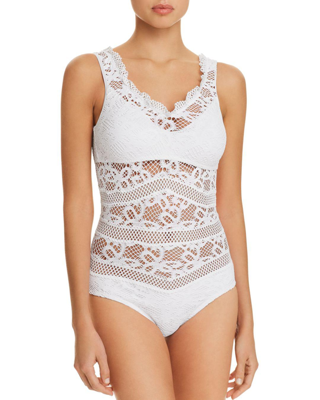 143dea9273e56 Becca Captured Crochet One Piece Swimsuit in White - Lyst