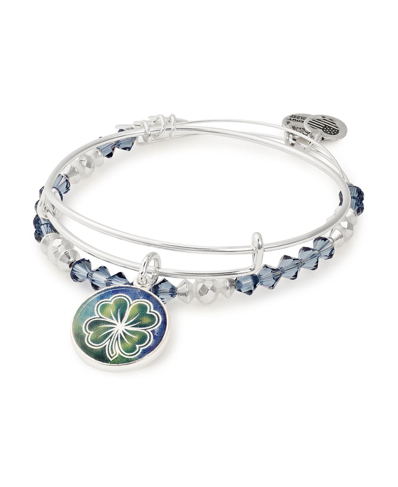 Alex And Ani Women S Blue Four Leaf Clover Expandable Bracelets
