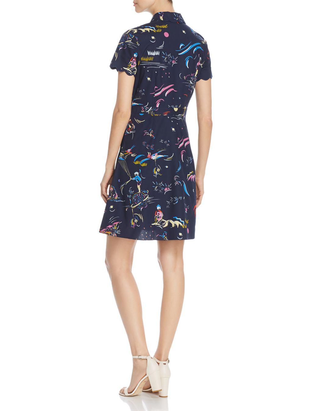 7305882cdf Tory Burch Printed Scallop-edged Shirtdress in Blue - Lyst