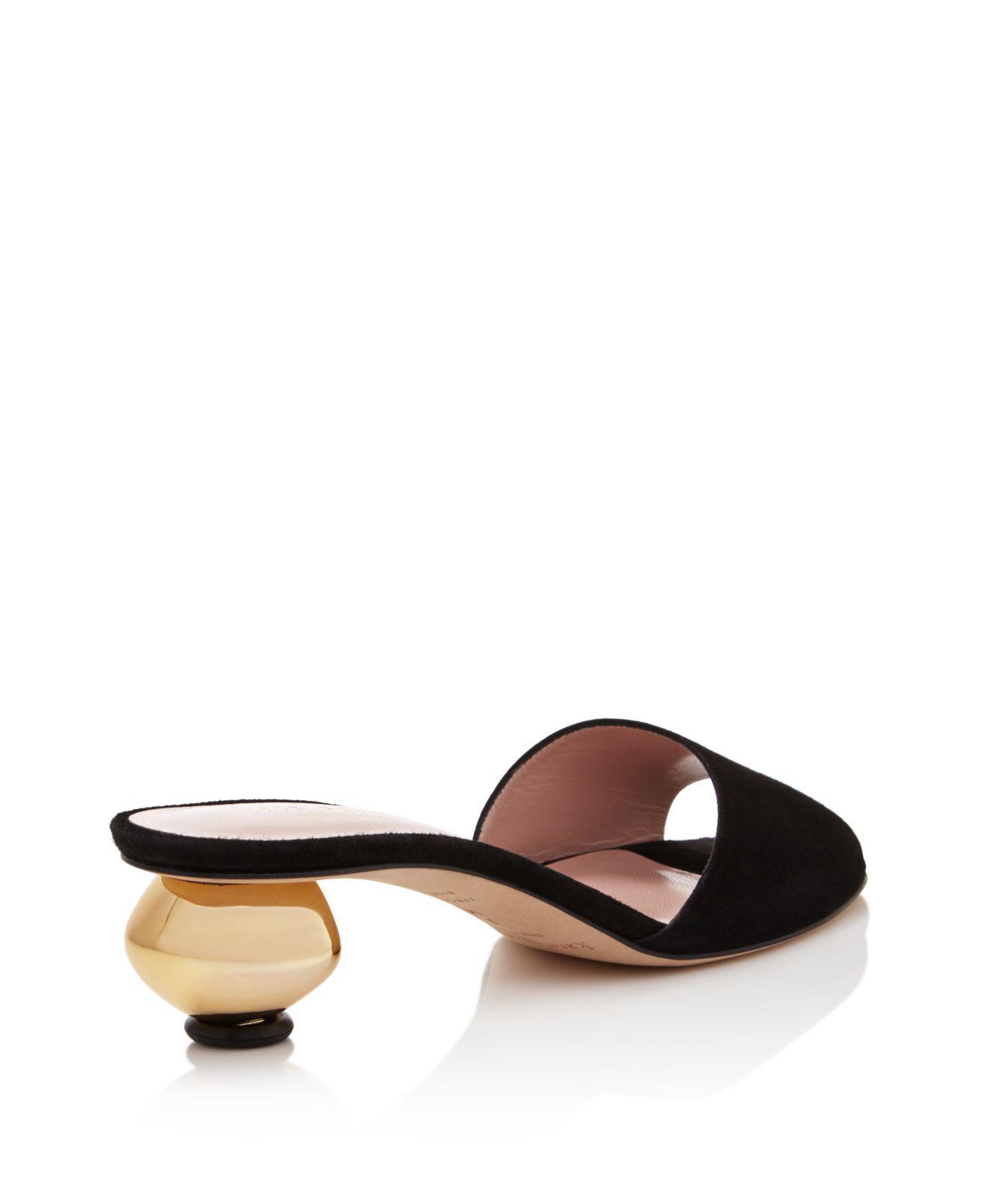 589fbf7a1a27 Kate Spade Paisley Low Heel Slide Sandals in Black - Lyst