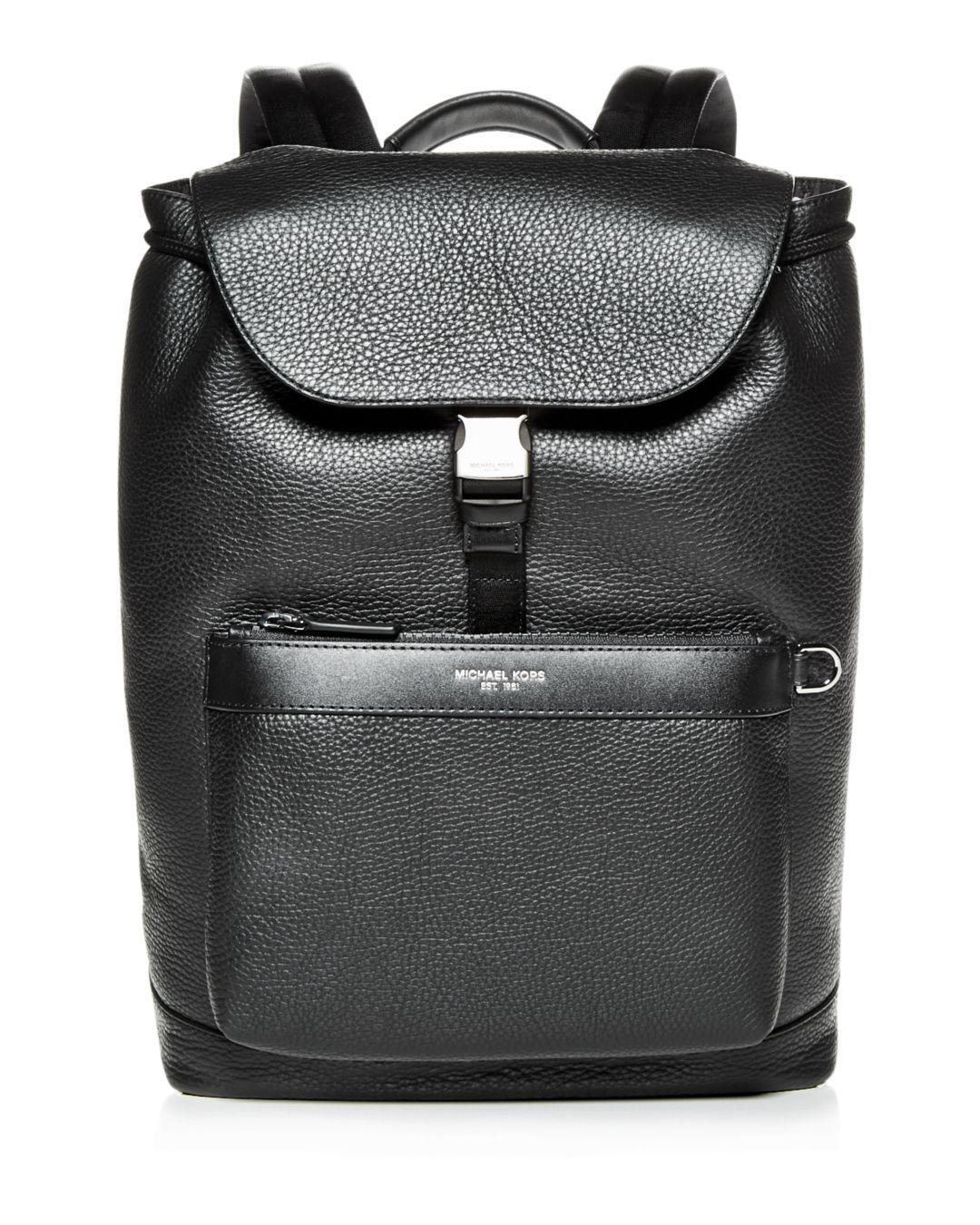 a51301a7705f Michael Kors - Black Greyson Pebbled Leather Field Backpack for Men - Lyst.  View fullscreen