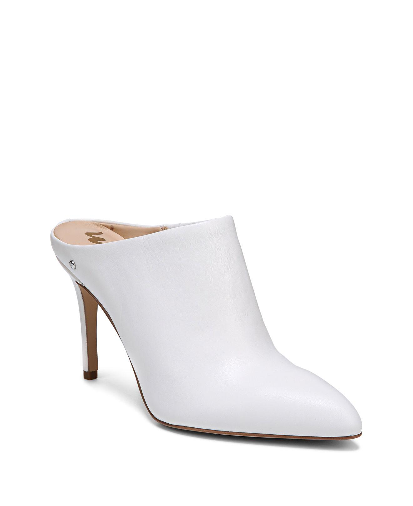 Lyst Sam Edelman Womens Oran Leather High Heel Mules In White