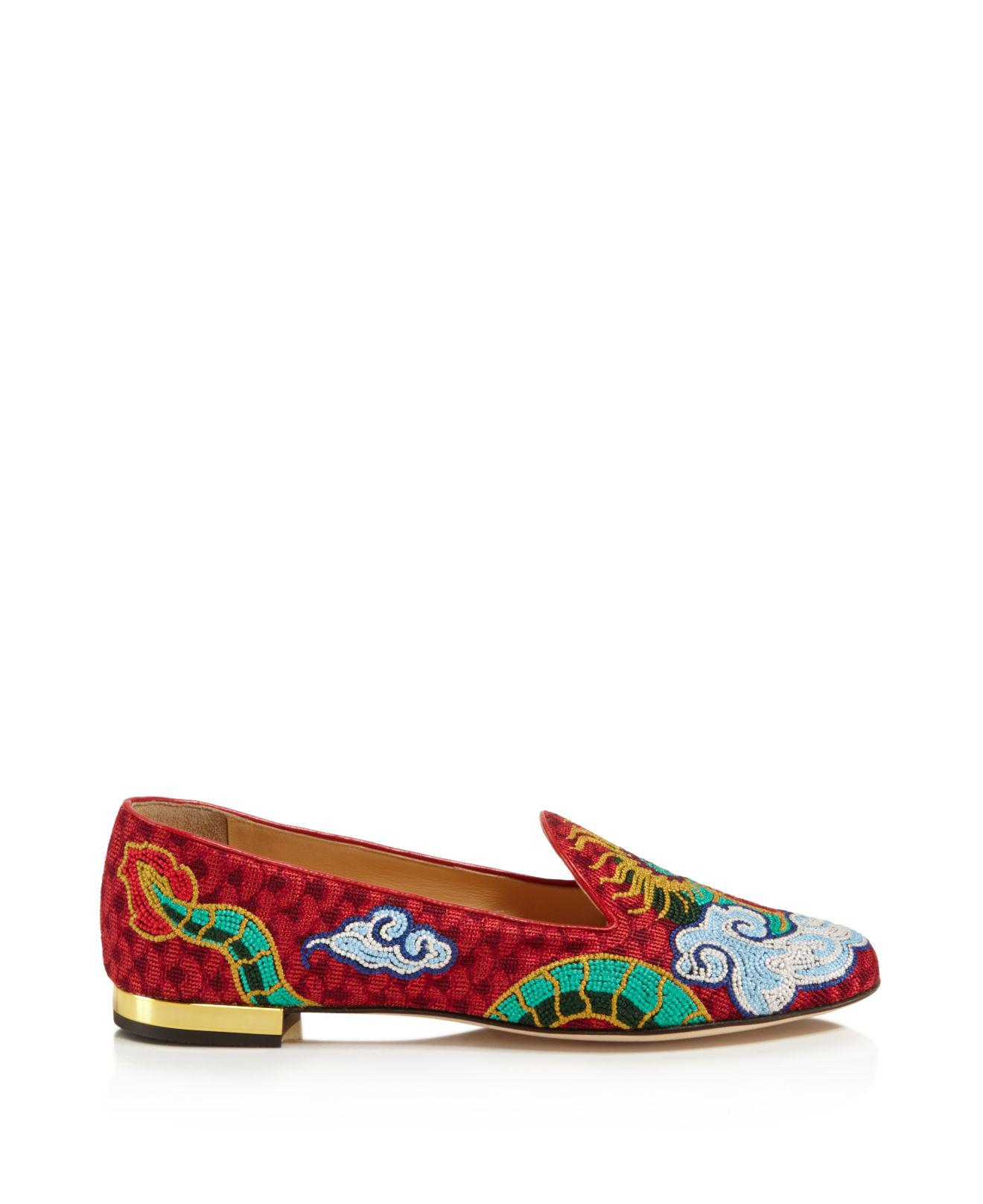 Charlotte Olympia Dragon Smoking Slipper Flats
