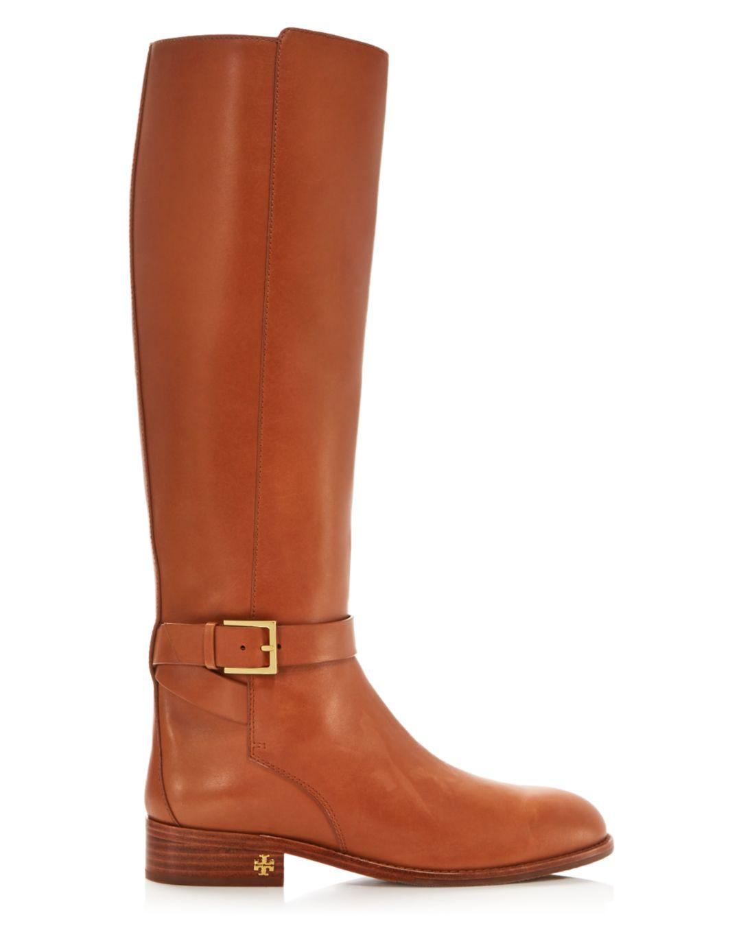0570d3801 Lyst - Tory Burch Women s Brooke Round Toe Leather Riding Boots in Brown