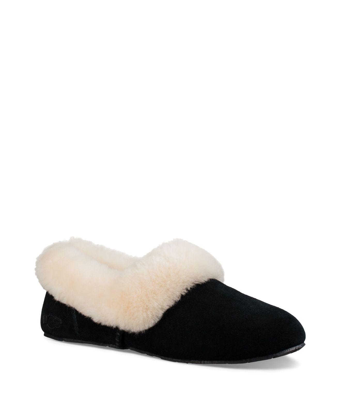 UGG. Women's Black ® Kendyl Suede Sheepskin Collar Slippers