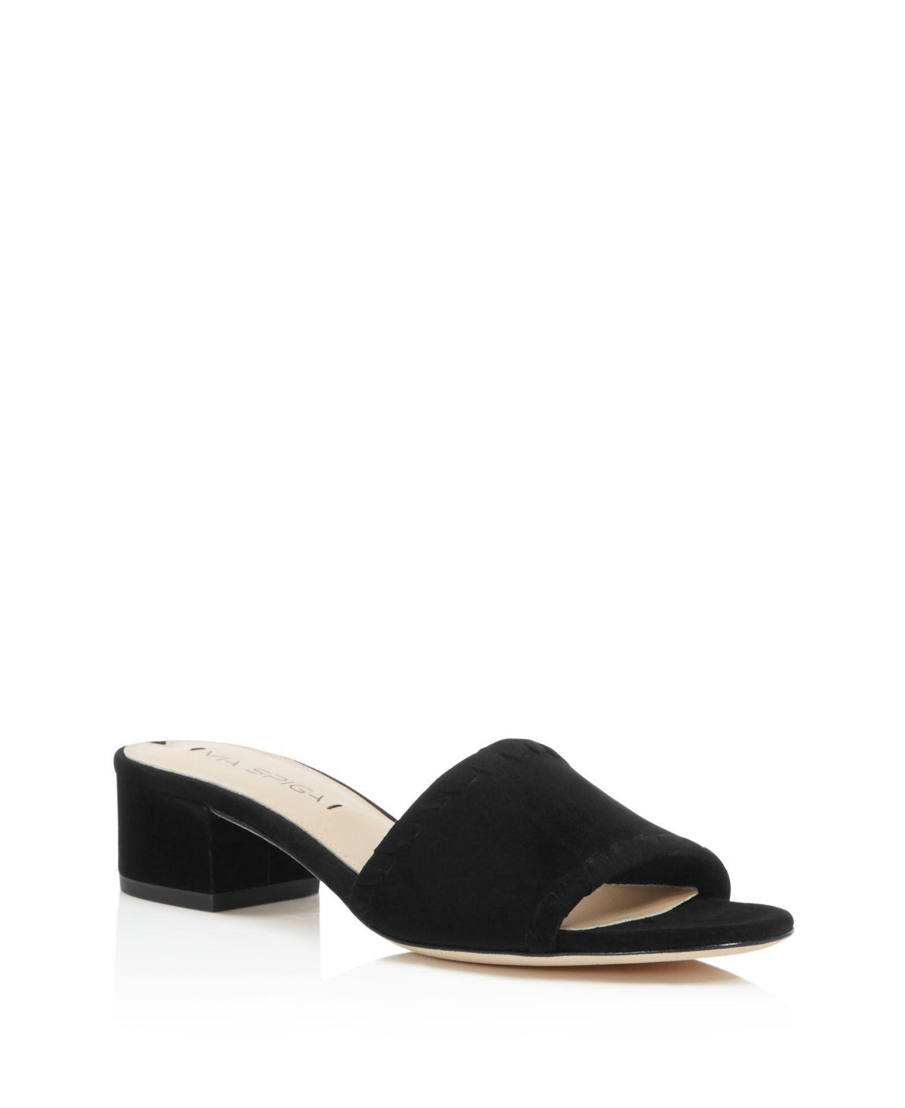 bbaa98f1fa Via Spiga Gwendolyn Low Heel Slide Sandals in Black - Lyst