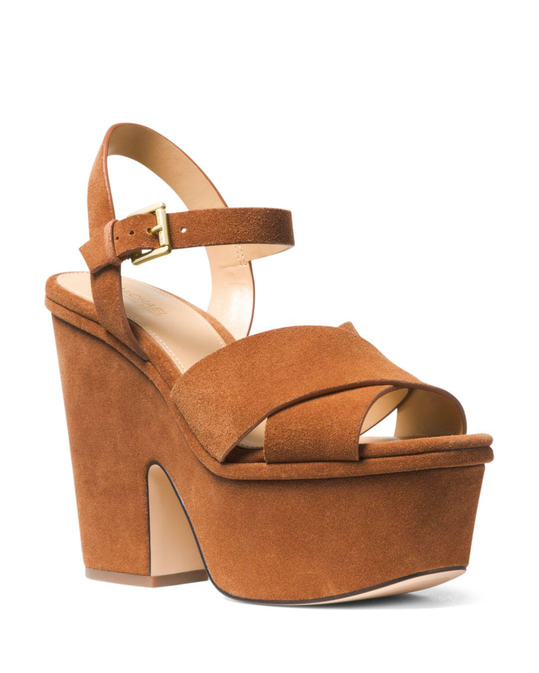 ce7afc2ab3 MICHAEL Michael Kors. Brown Women's Divia Open-toe Platform Suede Wedge  Heel Sandals
