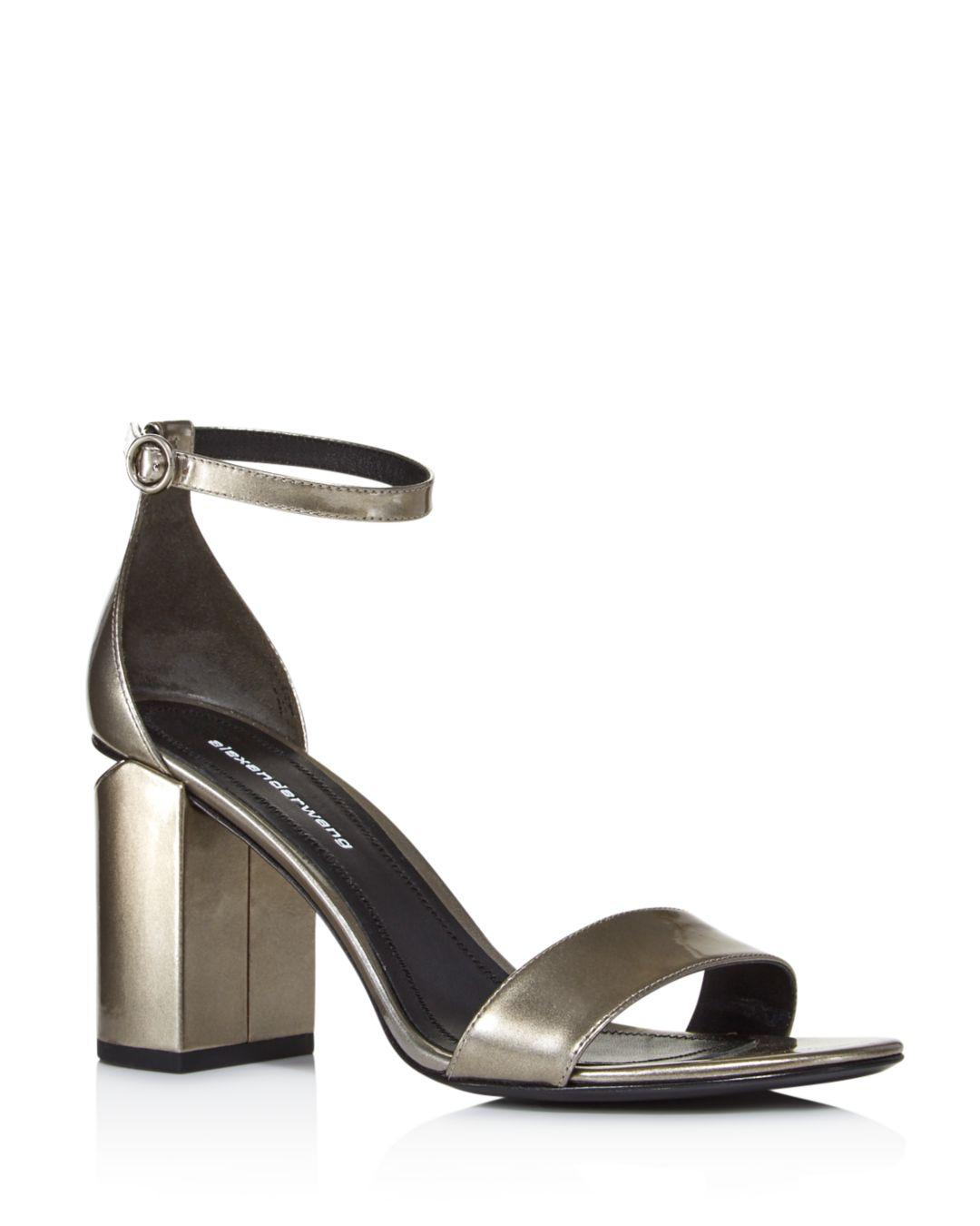 aea824696e5 Lyst - Alexander Wang Women s Abby Pewter Liquid Patent Leather ...