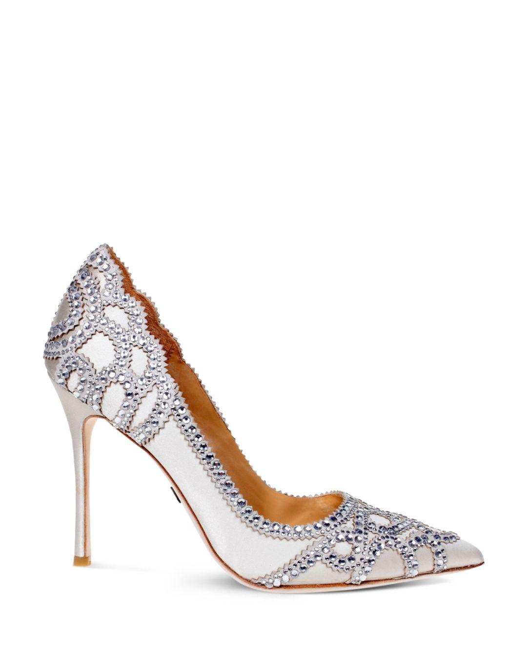f3149aefa002 Lyst - Badgley Mischka Rouge Embellished Pointed Toe Pumps in White