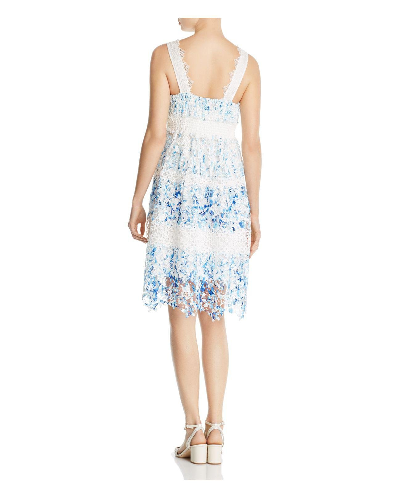 84b1630ae0484 Elie Tahari Malina Floral Lace Dress in Blue - Lyst