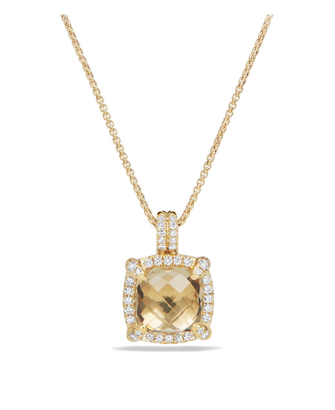 David Yurman 18kt yellow gold Châtelaine turquoise and diamond pendant necklace - Metallic dJox2Vt