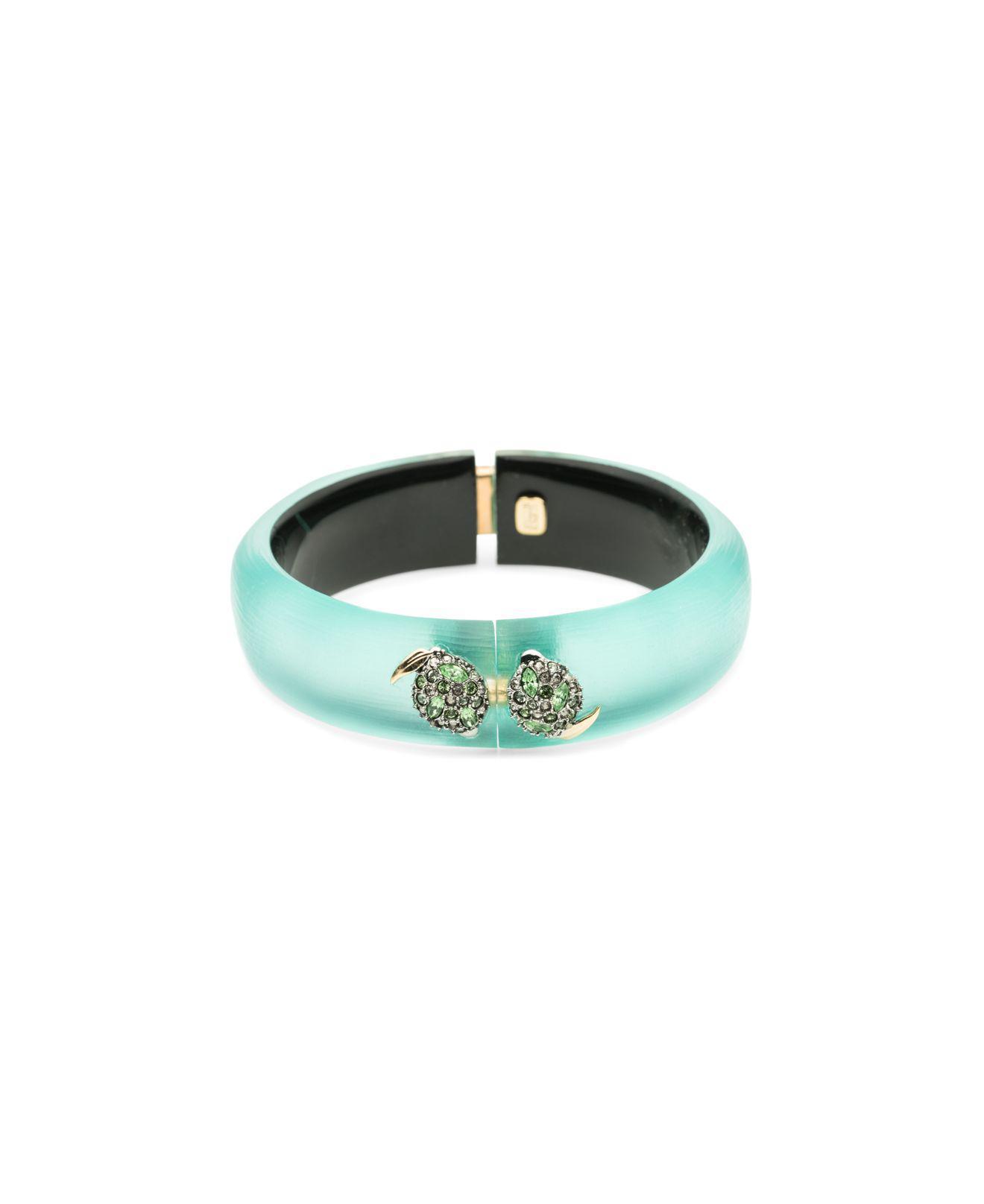 Alexis Bittar Crystal Encrusted Lime Studded Hinge Bracelet Mint green f9I9g