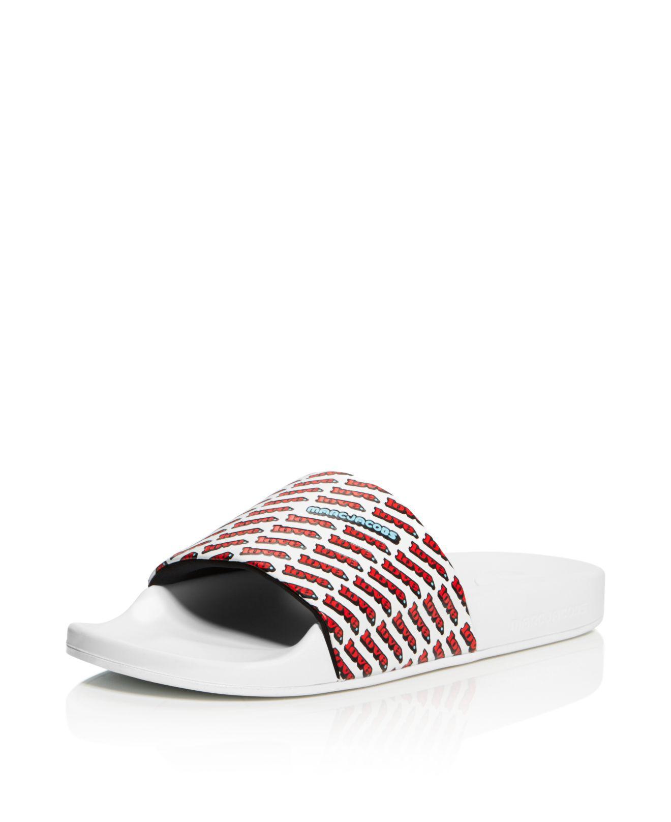 Marc Jacobs Women's Love Aqua Leather Slide Sandals 62I6a