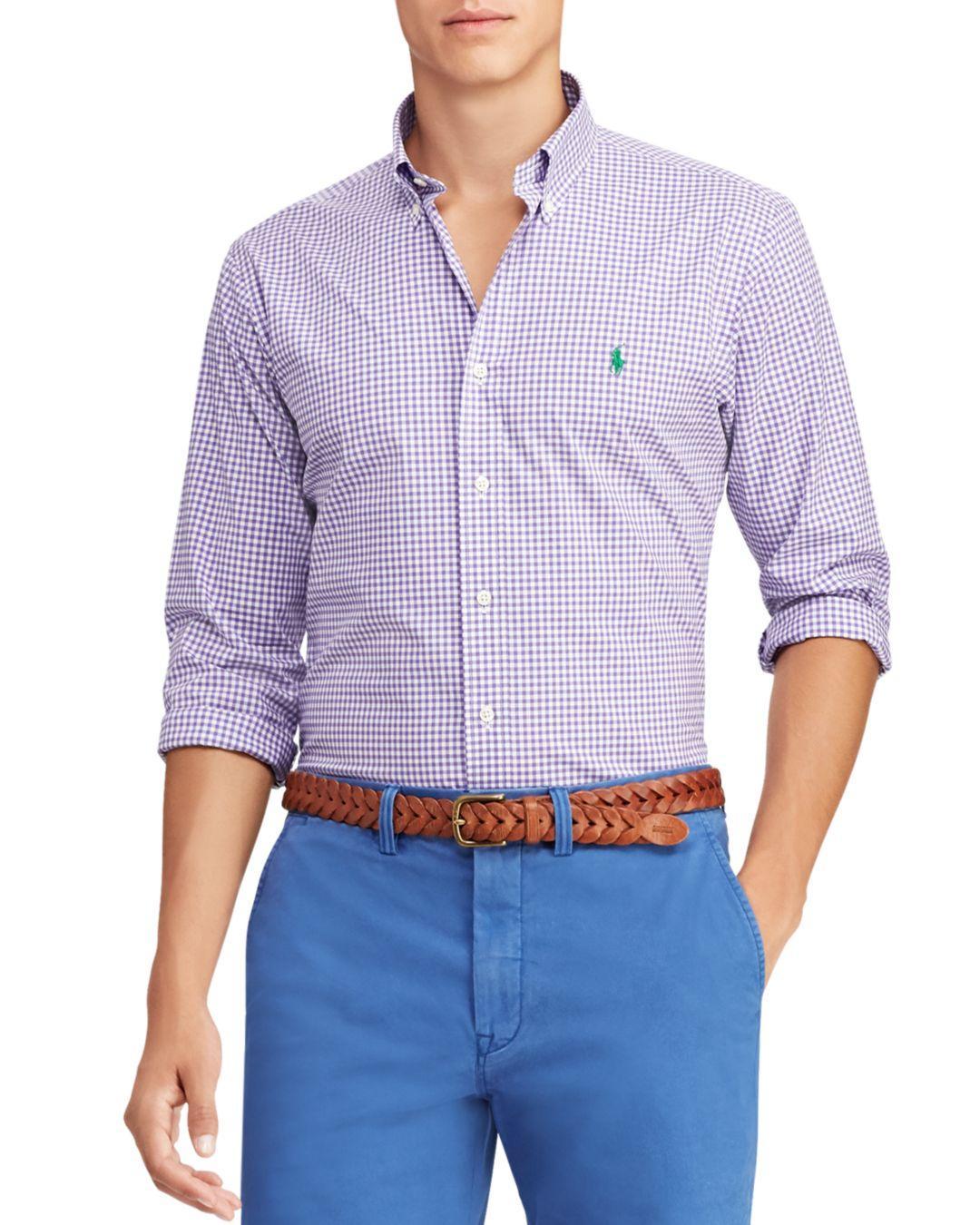 b3437fa83 Polo Ralph Lauren. Men's Purple Gingham Slim Fit Button-down Poplin Shirt