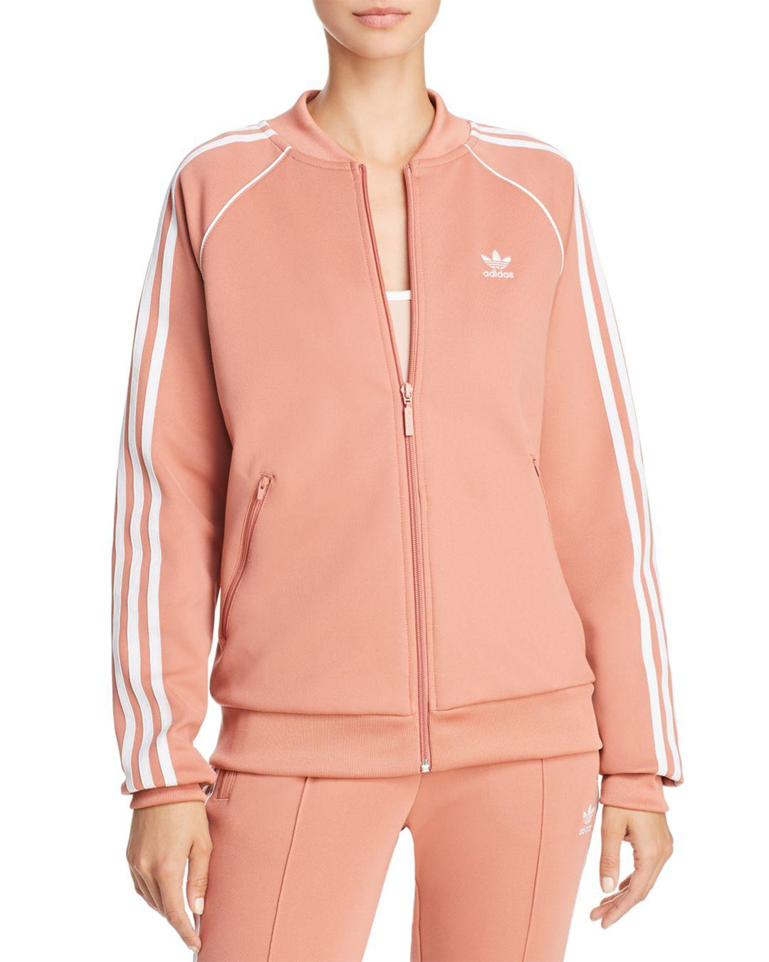 f5f64594d Adidas Originals Stripe-detail Track Jacket in Pink - Lyst