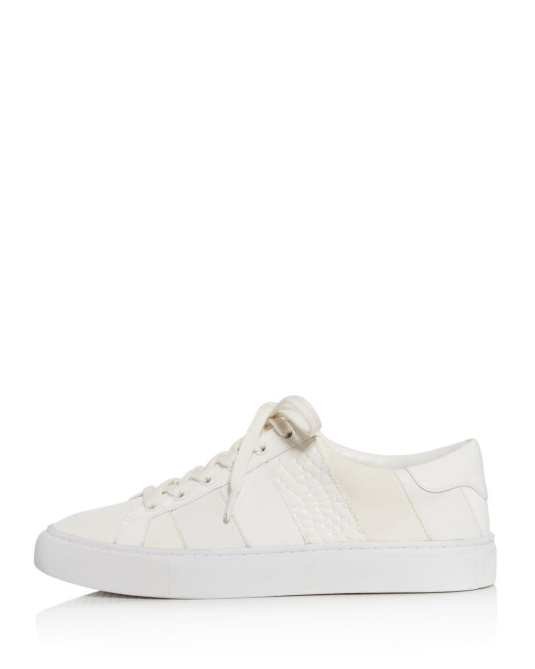 17d80cb5758d Lyst - Tory Burch Women s Ames Leather   Suede Sneakers in White