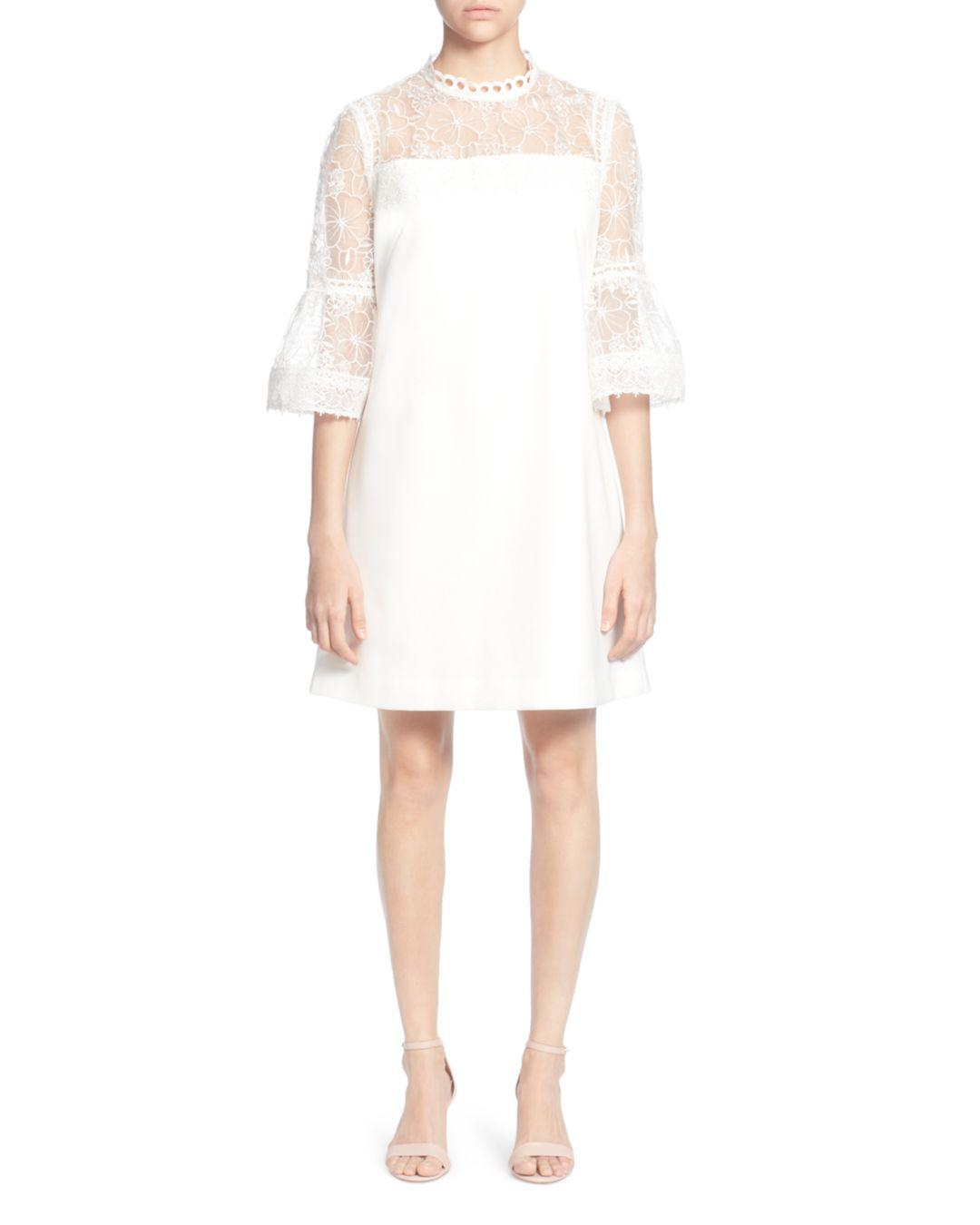 0ae575e53381 Catherine Malandrino Amelia Floral Lace Bell-sleeve Dress in White ...