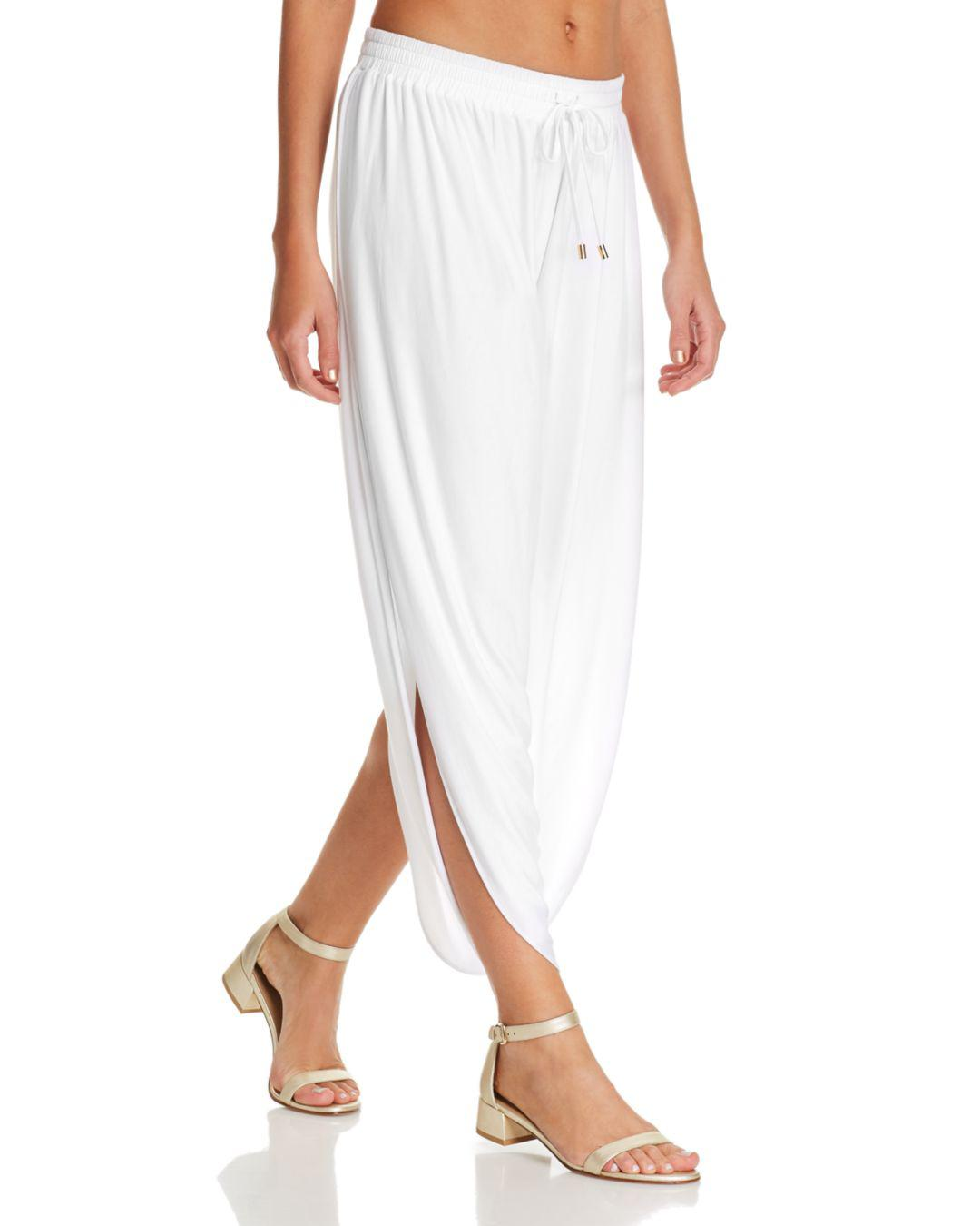 bfb327e1bfa Laundry by Shelli Segal. Women s White Solid Draped Swim Cover-up Trousers