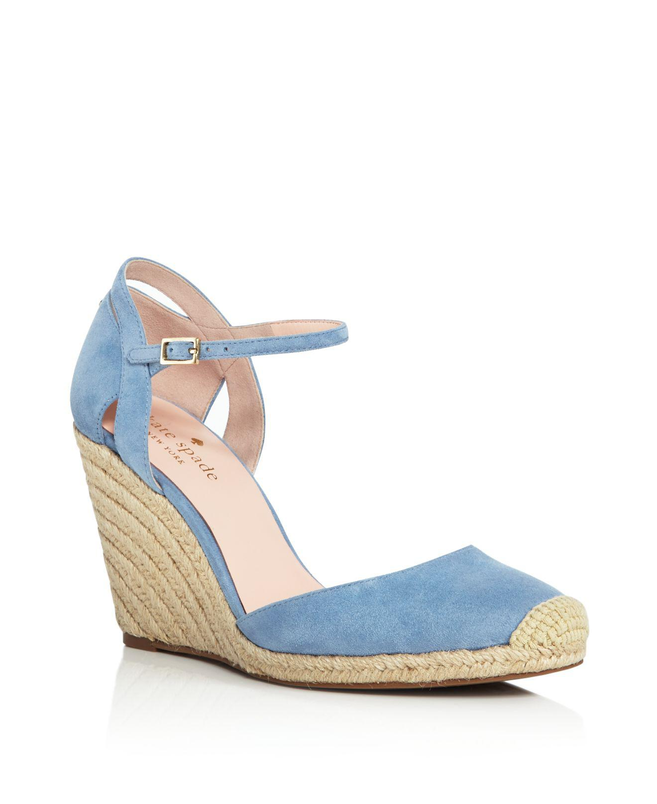 ee2cba0cf50 Kate Spade Women's Giovanna Suede Espadrille Wedge Pumps in Blue - Lyst