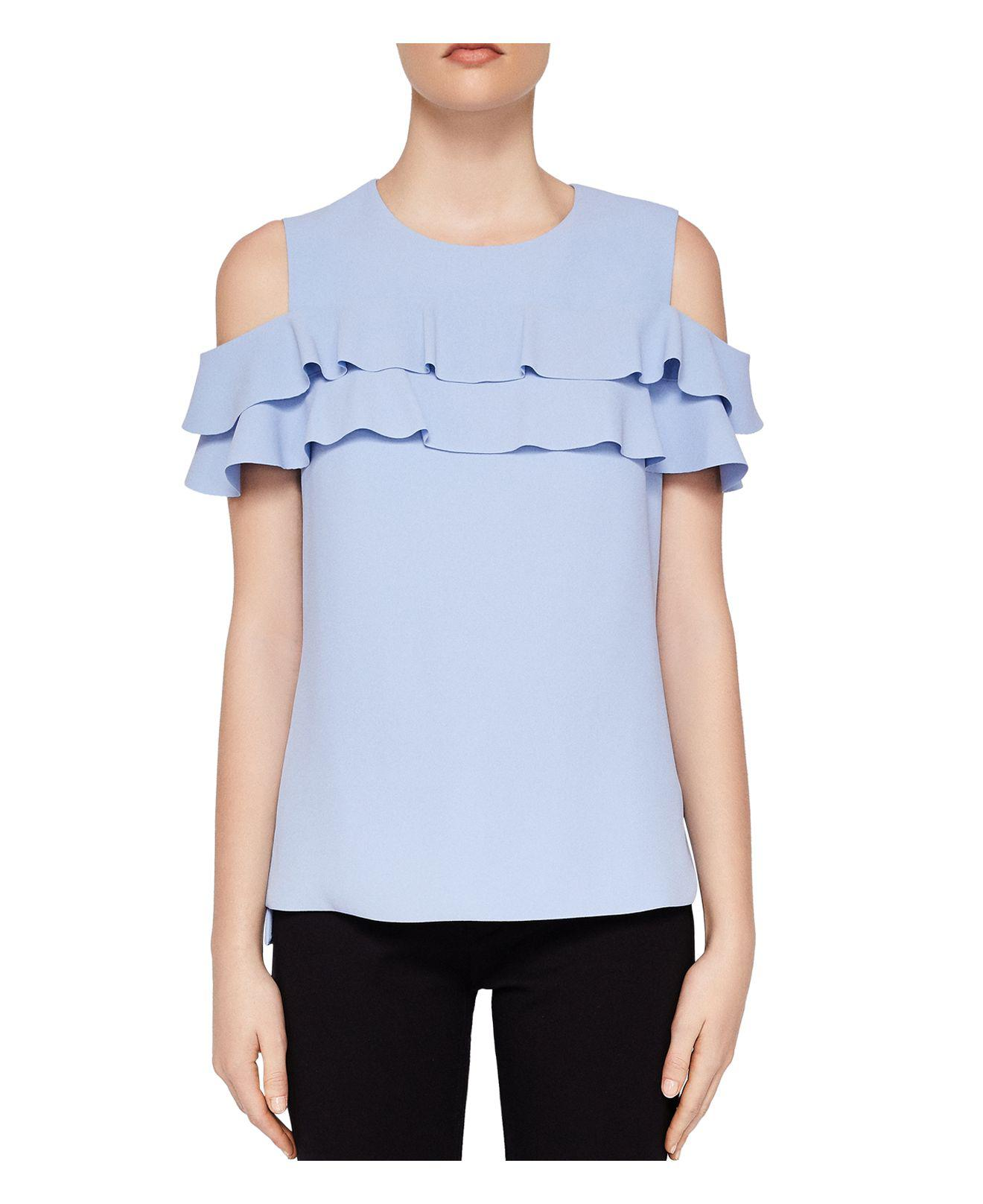 e669c1a7eaf33a Lyst - Ted Baker Hopee Cold-shoulder Frill Top in Blue