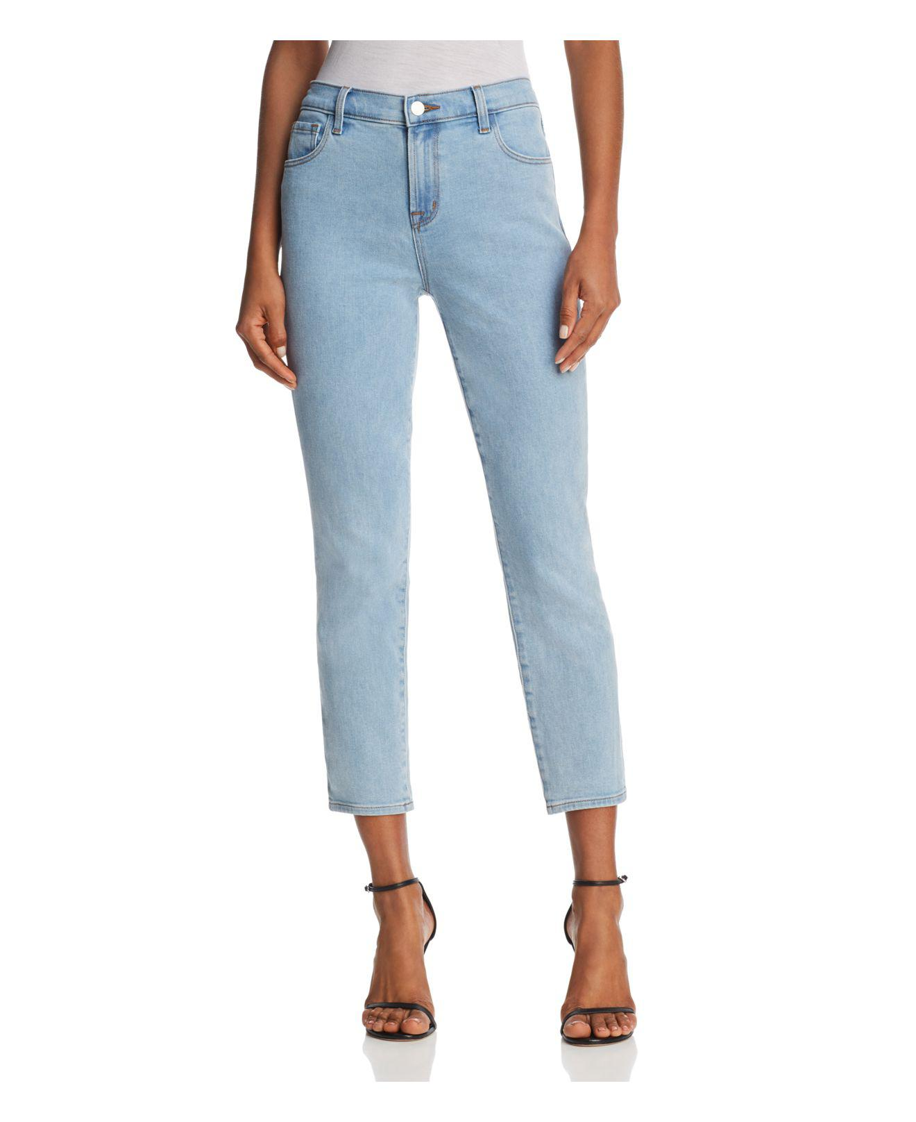 edc40b4e7bb7 Lyst - J Brand Ruby High-rise Cropped Straight Jeans In Silvery in Blue