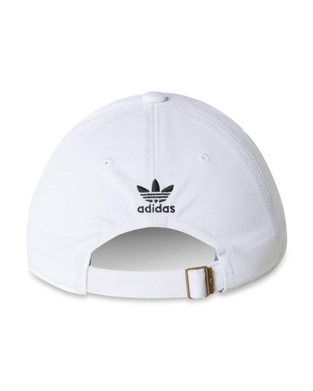 4f9644b04e2 adidas Originals Relaxed Strapback Cap in White for Men - Save 53% - Lyst