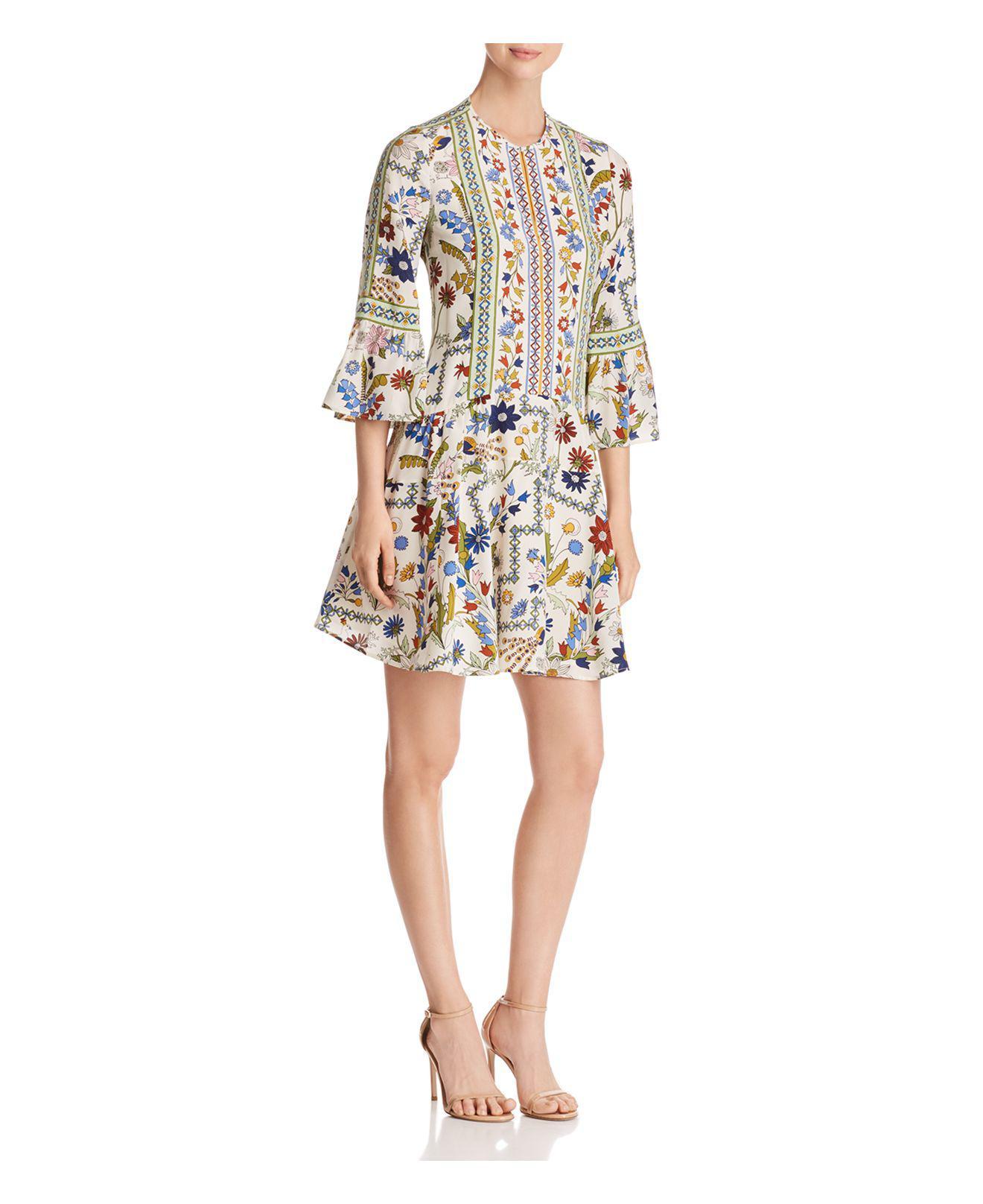 Daphne Printed Silk Mini Dress - Cream Tory Burch EAvcj