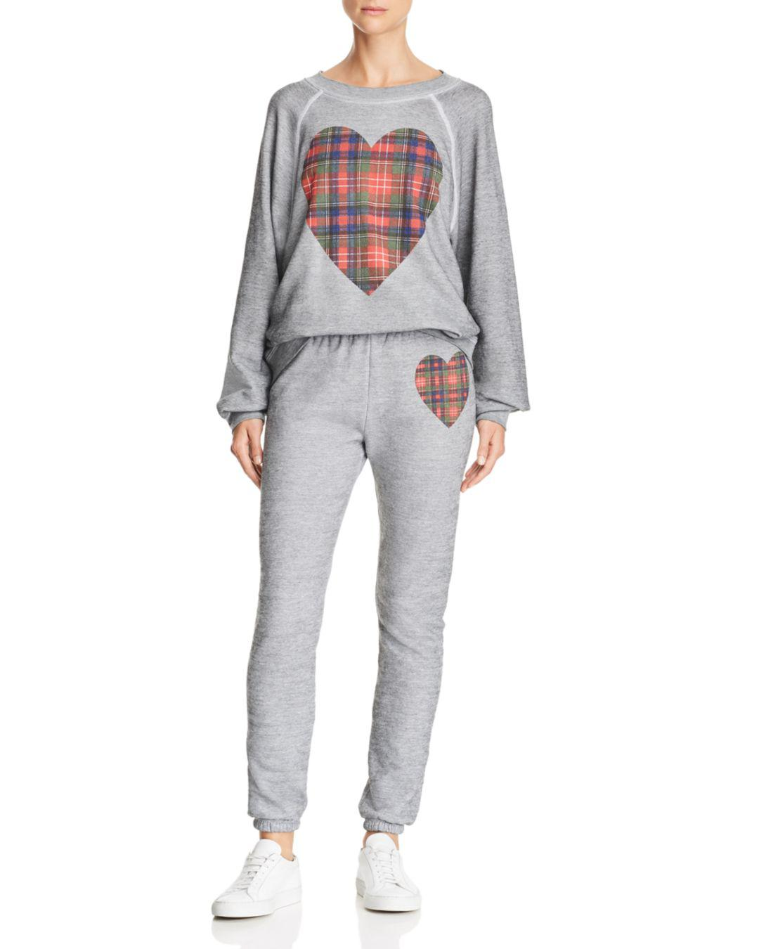 de1ce03aa7ebe Lyst - Wildfox Knox Tartan Heart Sweatpants in Gray