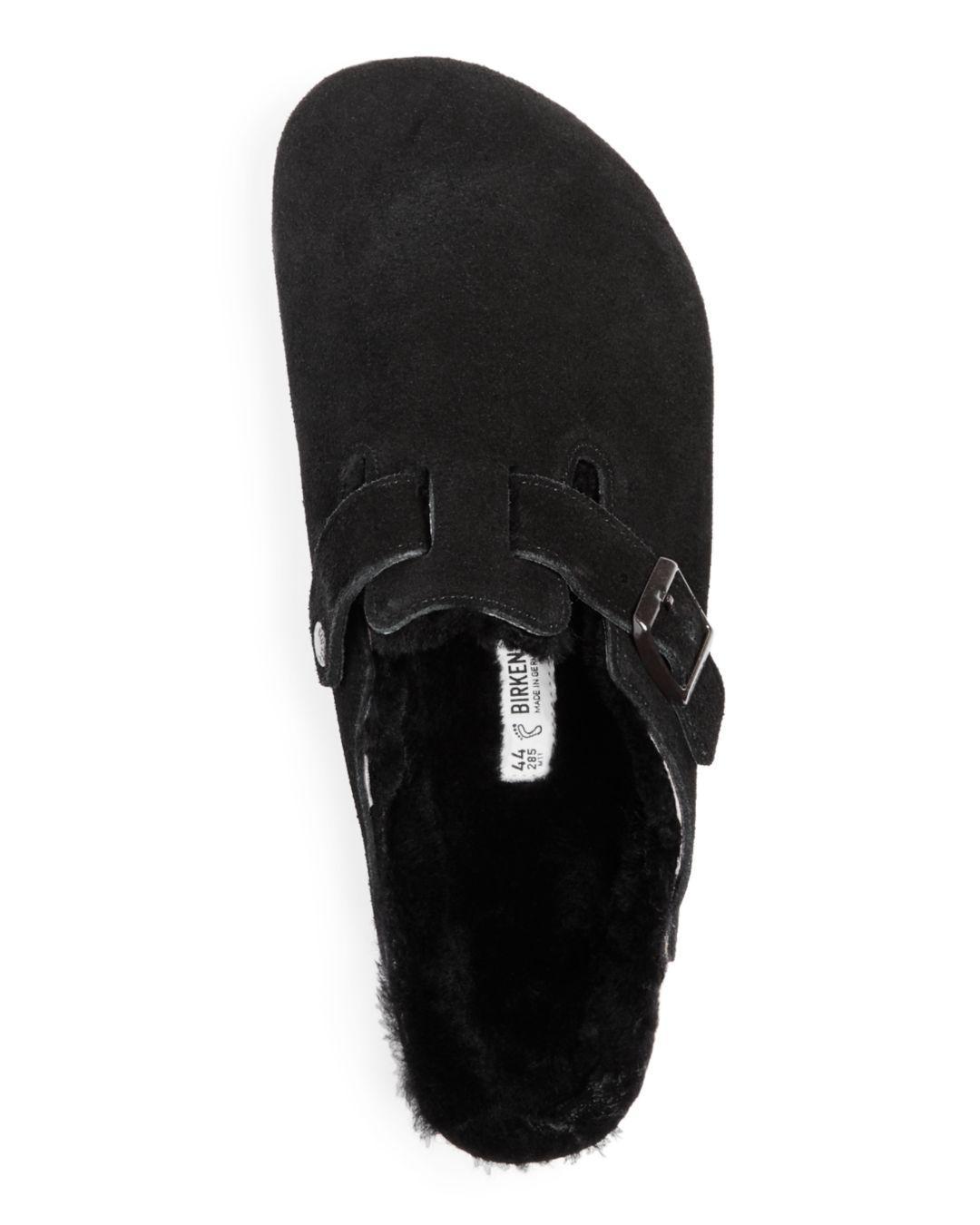 88f75317ab32 Birkenstock Men's Boston Leather & Shearling Mules in Black for Men - Lyst