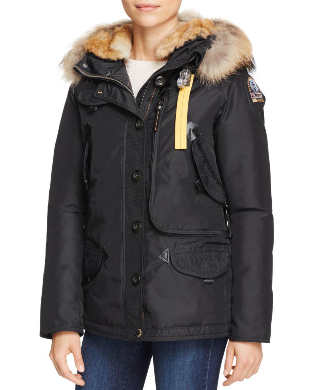 Parajumpers. Women's Black Doris Mixed Fur Trim Down Coat