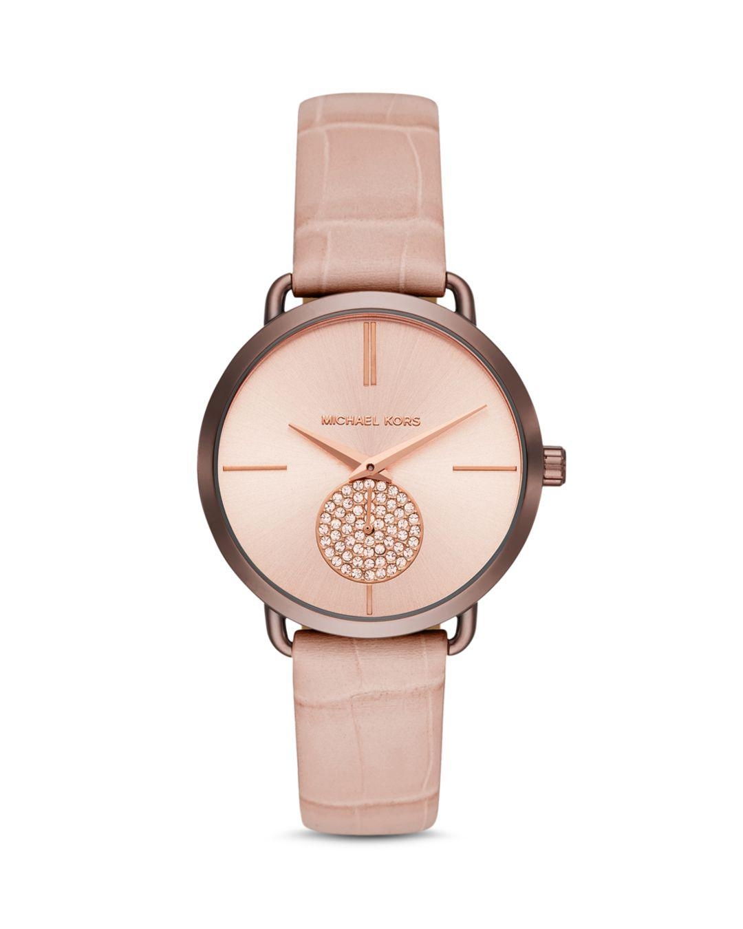 94bec9997ea9 Michael Kors - Pink Portia Crocodile-embossed Leather Strap Watch 37mm -  Lyst. View fullscreen
