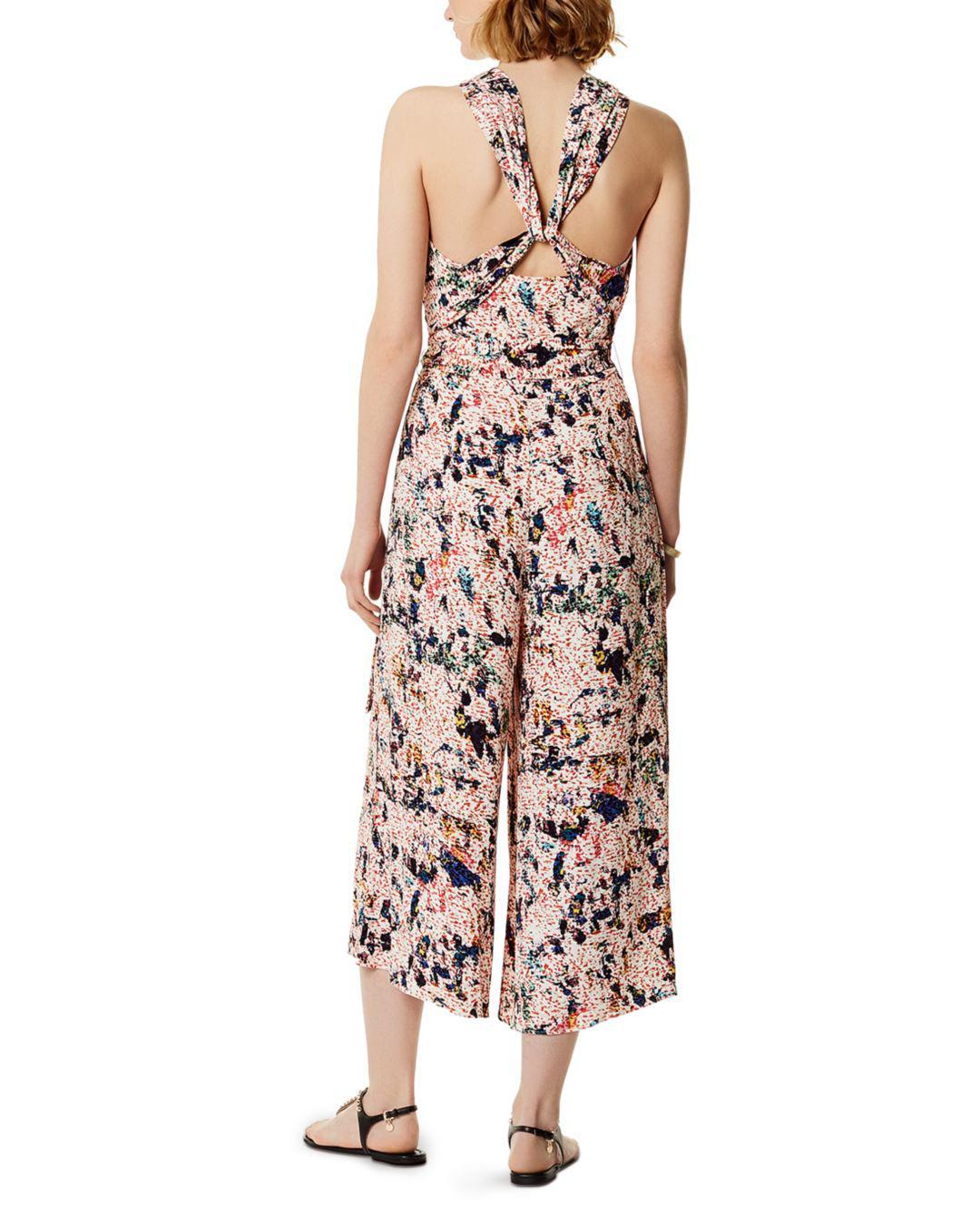 d562688eb1c1 Lyst - Karen Millen Floral Print Wide-leg Jumpsuit