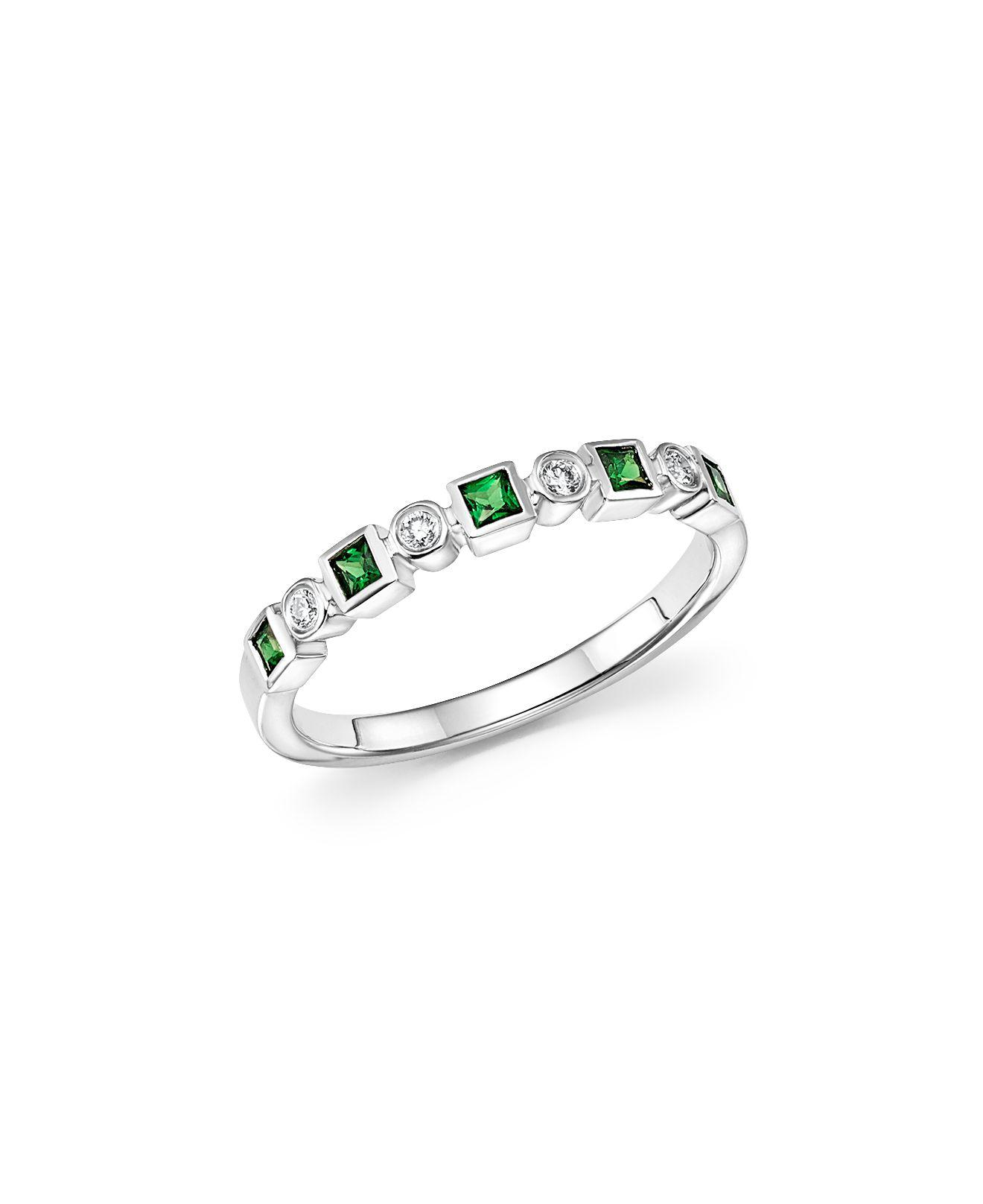 Lana Jewelry Electric 14K Black Gold Stacking Ring with Green Tsavorite, Size 7