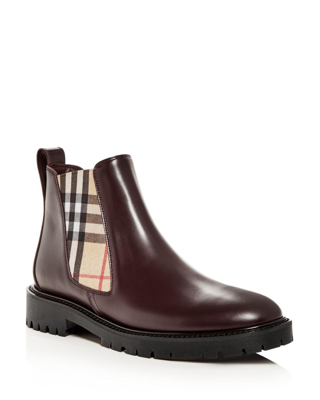 6da78bb5a4f Lyst - Burberry Vintage Check Detail Leather Chelsea Boots in Brown