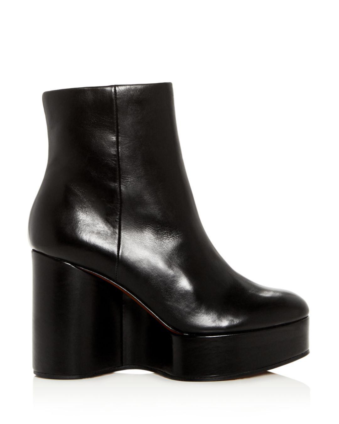b33d2add8f8 Lyst - Clergerie Robert Women s Belen Leather Platform Wedge Booties in  Black