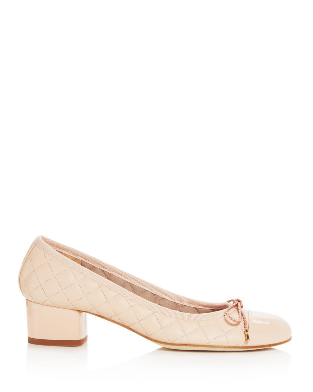 e9cce899858 Lyst - Paul Mayer Women s Titou Quilted Leather Block-heel Pumps in Natural
