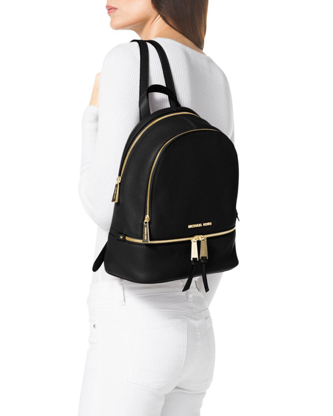 be43039b6a79d MICHAEL Michael Kors Small Rhea Zip Backpack in Black - Save 52% - Lyst