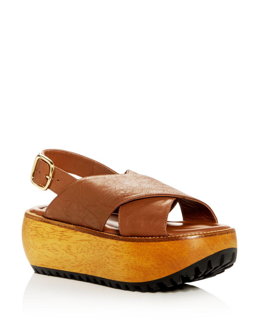 a45d932eb41 Lyst - Marni Women s Leather Crisscross Slingback Platform Sandals ...