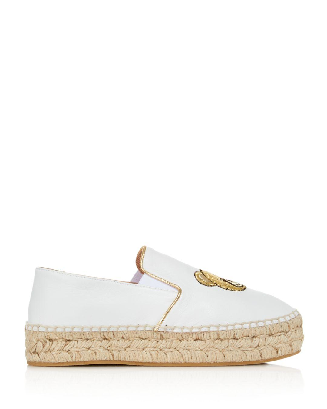 9a3851c7140d Lyst - Moschino Women s Teddy Leather Espadrille Flats in White