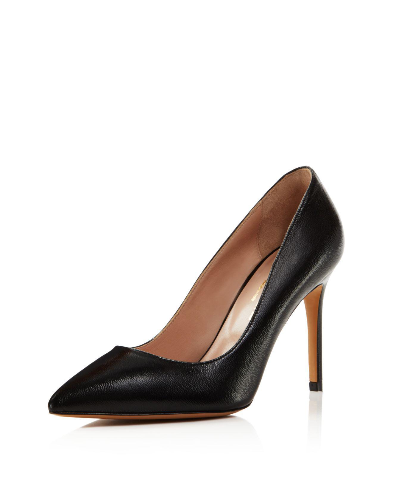 Charles David Genesis Leather Pointed Toe High Heel Pumps Black Women
