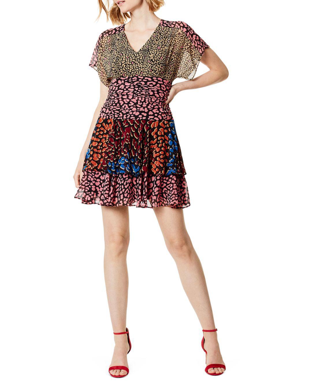 Lyst - Karen Millen Mixed Leopard-print Mini Dress in Red 4dd1ac056